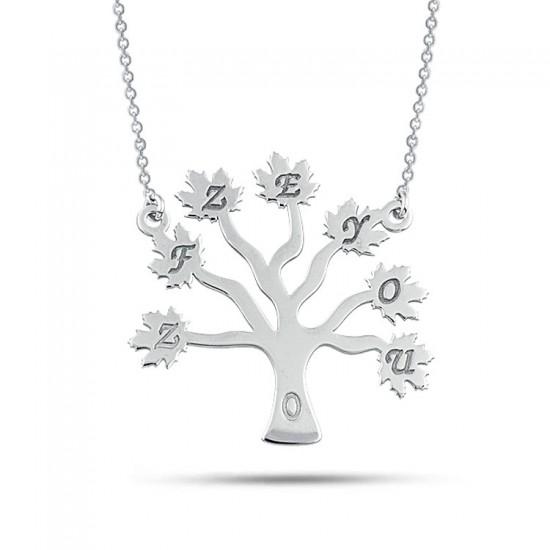 Hayat Ağacı Kişiye Özel Harf Kolye 925 Ayar Gümüş