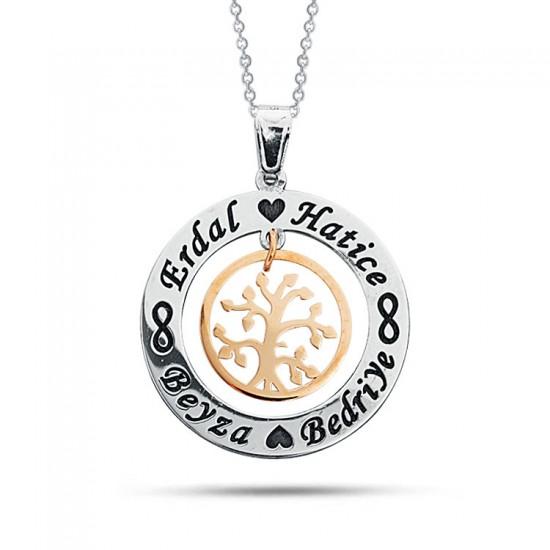 Hayat Ağacı Kişiye Özel İsimli Aile Kolyesi 925 Ayar Gümüş