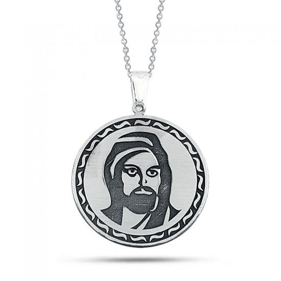 Hz. Ali Portreli Kişiye Özel Üretim Kolye 925 Ayar Gümüş