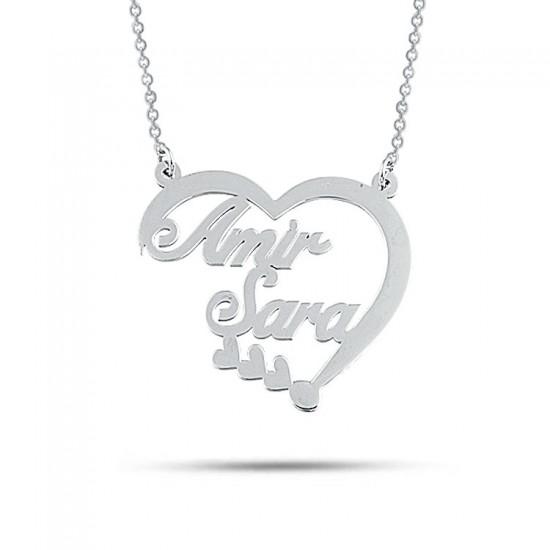 Kalp Figür Sevgiliye Özel İsimli Kolye 925 Ayar Gümüş