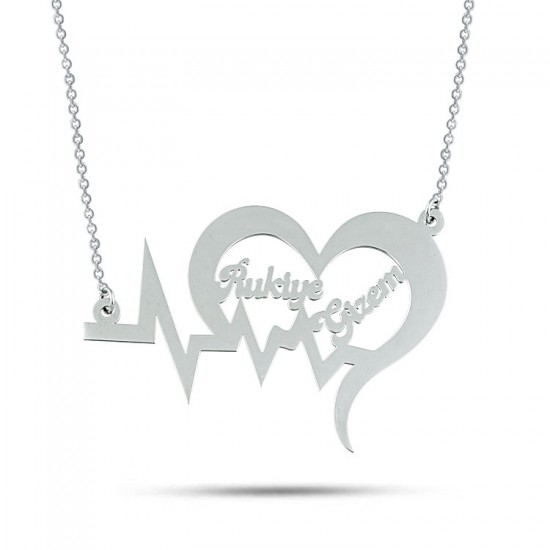 Kalp Ritmi Sevgiliye Özel İsimli Kolye 925 Ayar Gümüş