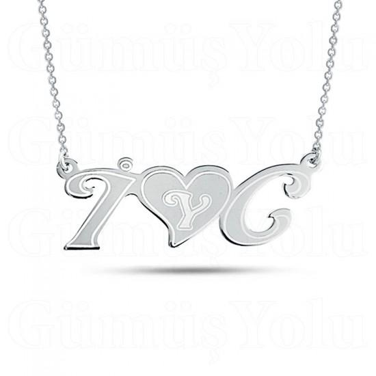 Kalpli Kişiye Özel Harf Kolye 925 Ayar Gümüş
