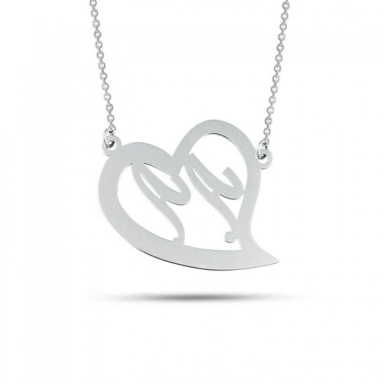 Kişiye Özel Harfli Kalp Kolye 925 Ayar Gümüş