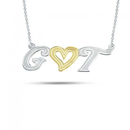 Kişiye Özel İki Harfli Kalpli Gümüş Kolye