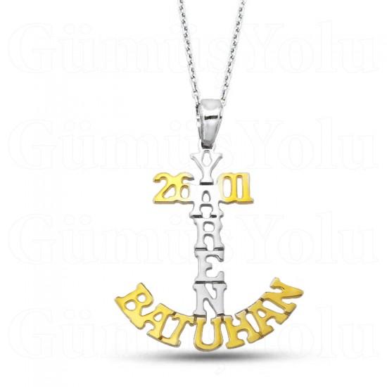 Kişiye Özel İki İsim Tarihli Kolye Gümüş
