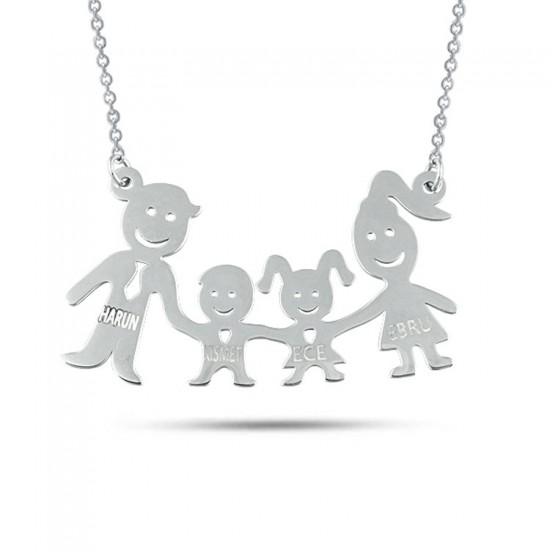 Kişiye Özel İsimli Aile Kolyesi 925 Ayar Gümüş