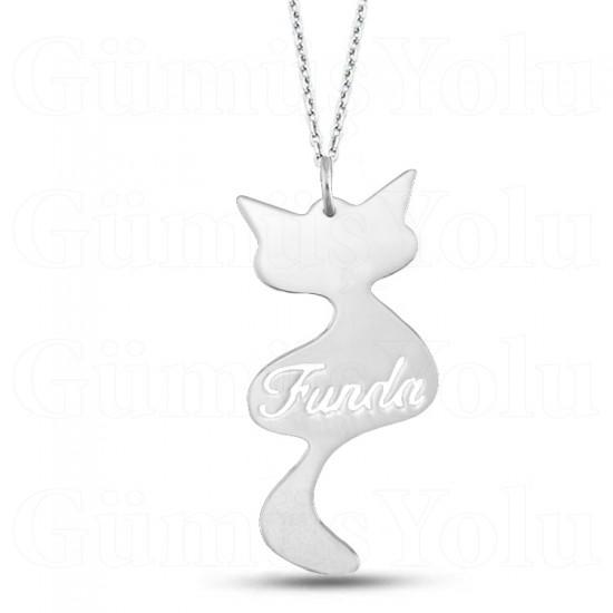 Kişiye Özel İsimli Kedi Kolye 925 Ayar Gümüş