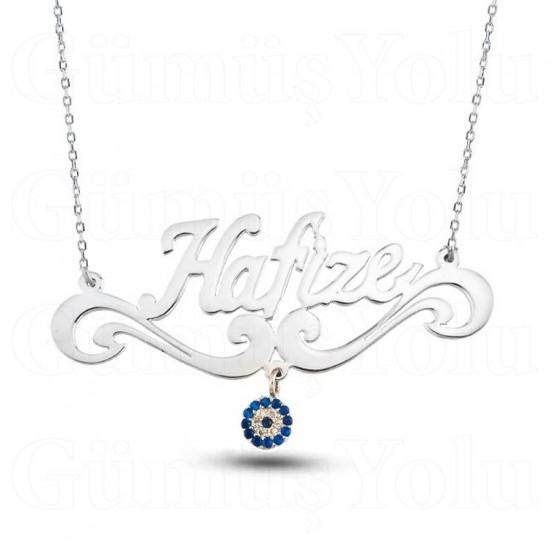 Kişiye Özel İsimli Nazarlı Motifli İsimli Gümüş Kolye