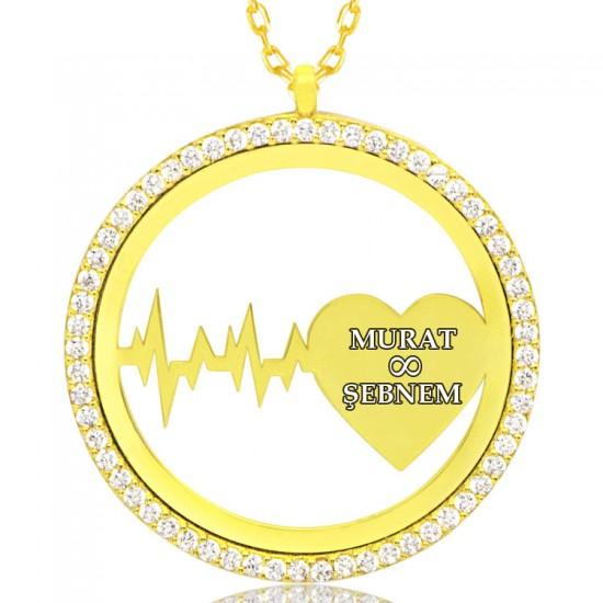 Kişiye Özel Ritim Kalp İsimli Gümüş Kolye 925 Ayar