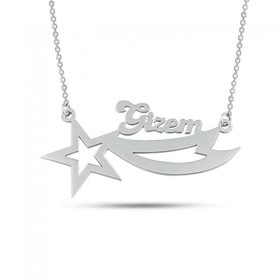 Kuyruklu Yıldız Kişiye Özel İsimli Kolye 925 Ayar Gümüş