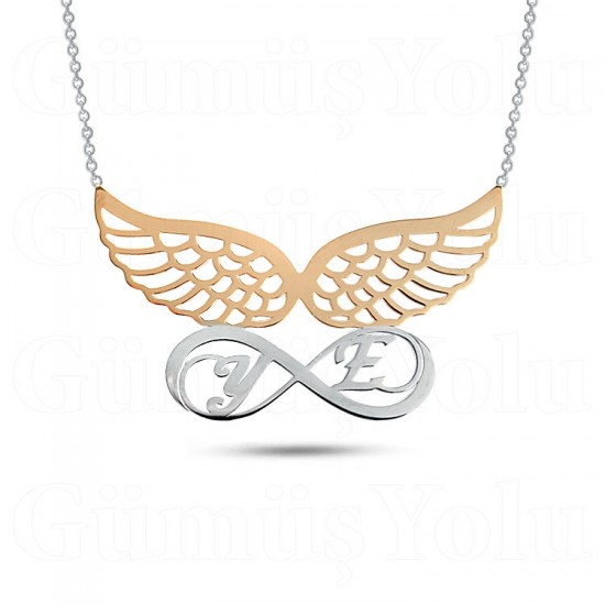 Sevgiliye Özel Harfli Melek Kanatlı Sonsuzluk Gümüş Kolye 925 Ayar Gümüş