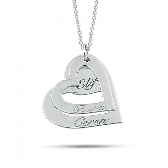 Sevgiliye Özel Kalpli İsim Kolye 925 Ayar Gümüş