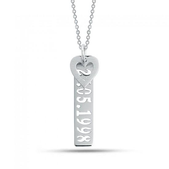 Sevgiliye Özel Kalpli Plaka Tarih Kolye 925 Ayar Gümüş