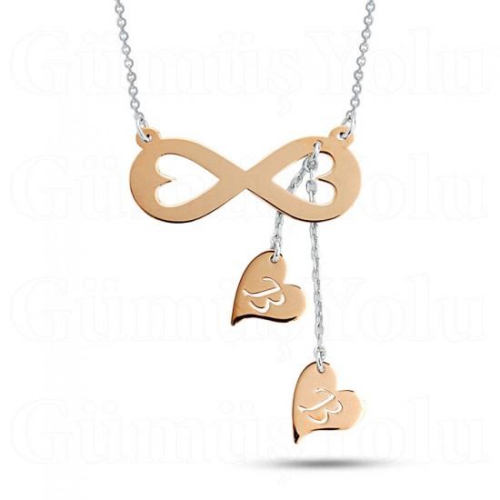 Sevgiliye Özel Sallantılı Kalp Sonsuzluk Kolye 925 Ayar Gümüş