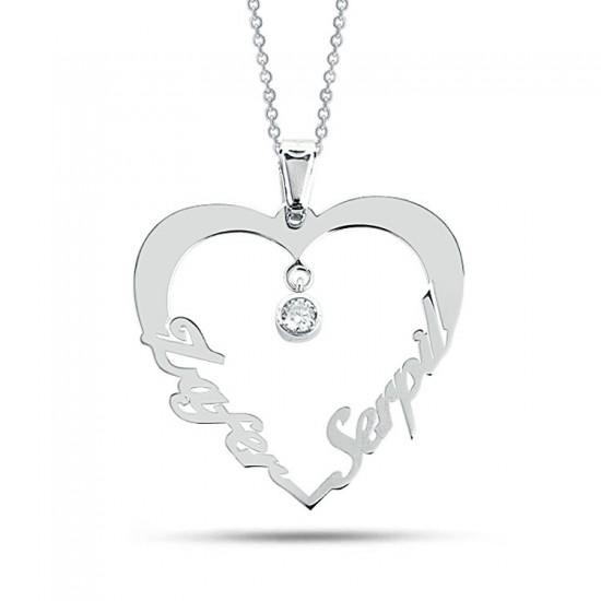 Tek Taş Kalp Figür Kişiye Özel İsim Kolye 925 Ayar Gümüş