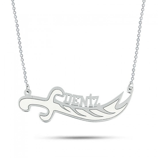Zülfikar Figür Kişiye Özel İsimli Kolye 925 Ayar Gümüş