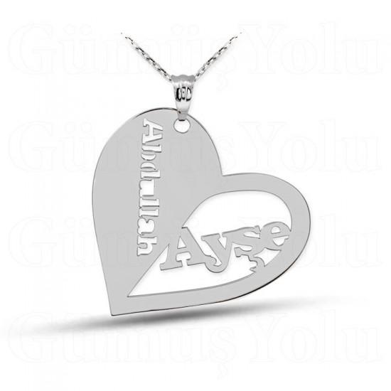 Kalpli Kişiye Özel Tasarım İsimli Gümüş Kolye