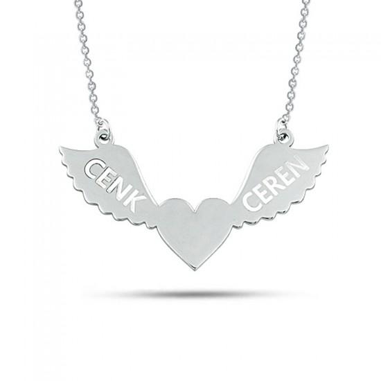 Melek Kanatlı Kalp Sevgiliye Özel İsimli Kolye 925 Ayar Gümüş