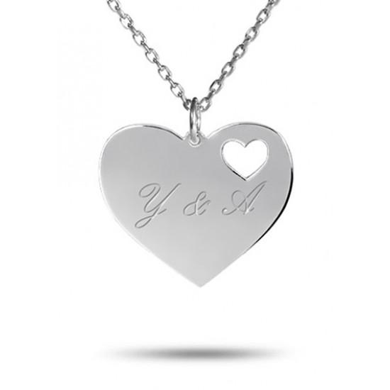 Yeni Model Kişiye Özel Kalp İçersinde İsimli Gümüş Kolye