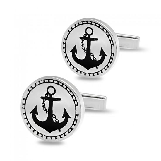 Çapa Figür Gümüş Denizci Kol Düğmesi 925 Ayar