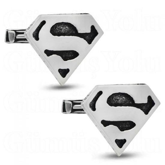 Süpermen Kol Düğmesi 925 Ayar Gümüş