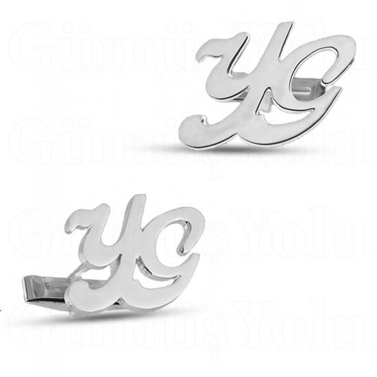 Tasarım Çift Harf Kol Düğmesi 925 Ayar Gümüş