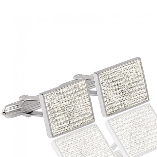 Zirkon Taşlı Gümüş Kol Düğmesi 925 Ayar