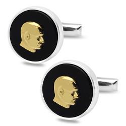 Oniks Taşlı M. Kemal Atatürk Siluet Gümüş Kol Düğmesi 925 Ayar