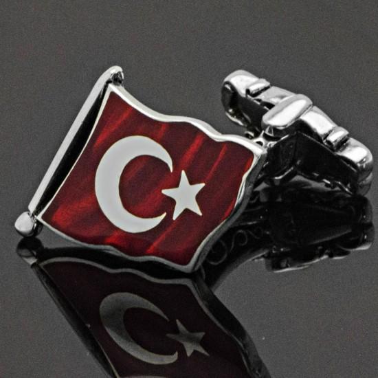 Özel Tasarım Mineli Ay Yıldız Türk Bayrağı Gümüş Kol Düğmesi 925 Ayar