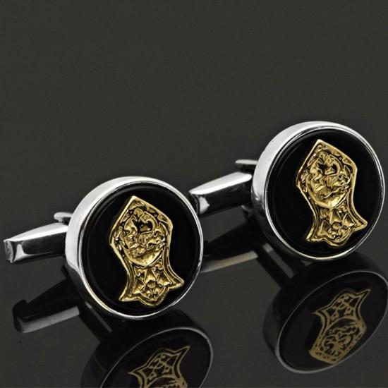 Oniks Taşlı Nal-ı Şerif Gümüş Kol Düğmesi 925 Ayar