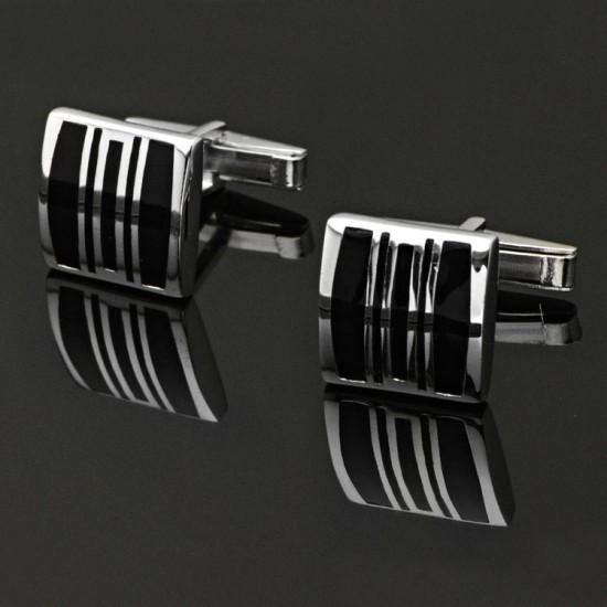 Siyah Mineli Gümüş Kol Düğmesi 925 Ayar