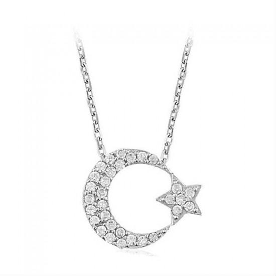 925 Ayar Gümüş Kolye Ay Yıldız Model