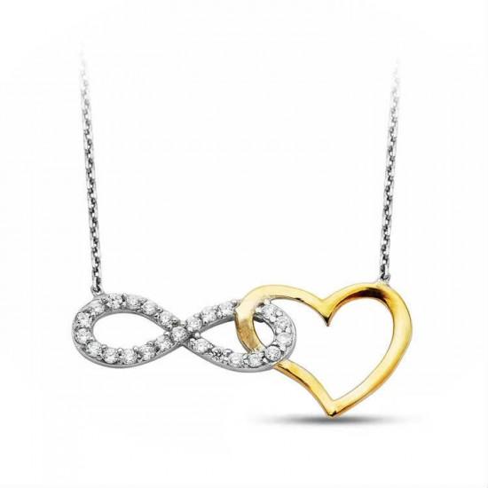925 Ayar Gümüş Kolye Sonsuzluk Kalp Model
