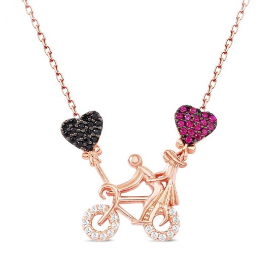 Bisiklet Kalp Sevgili Kolye 925 Ayar Gümüş