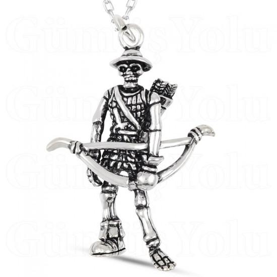 Okçu İskelet Figür Gümüş Kolye 925 Ayar