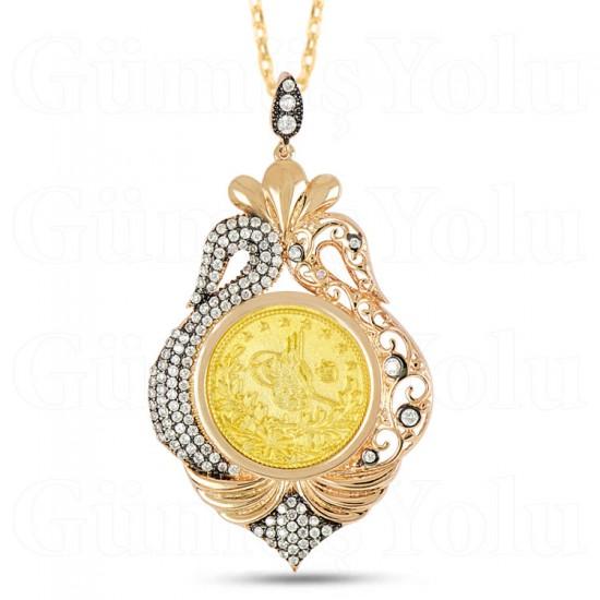 Osmanlı Tuğralı Zirkon Taşlı Kuğu Figür Kolye 925 Ayar Gümüş