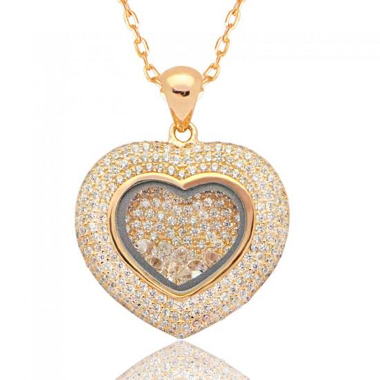 Popüler - İçi Zirkon Parçalı Gümüş Kalp Kolye