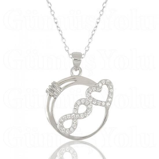Sonsuzluk ve Kalp Figür Zirkon Taşlı Gümüş Kadın Kolye 925 Ayar