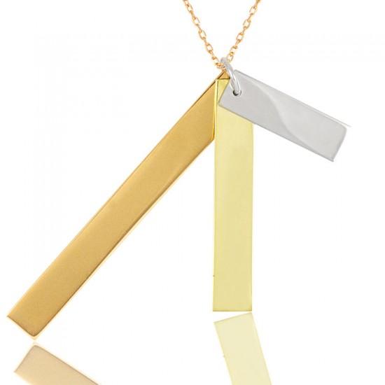 Üç Renk Üçlü Plaka Çubuk Gümüş Kadın Kolye 925 Ayar