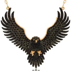 Büyük Boy Siyah Zirkon Taşlı Kartal Gümüş Kadın Kolye 925 Ayar