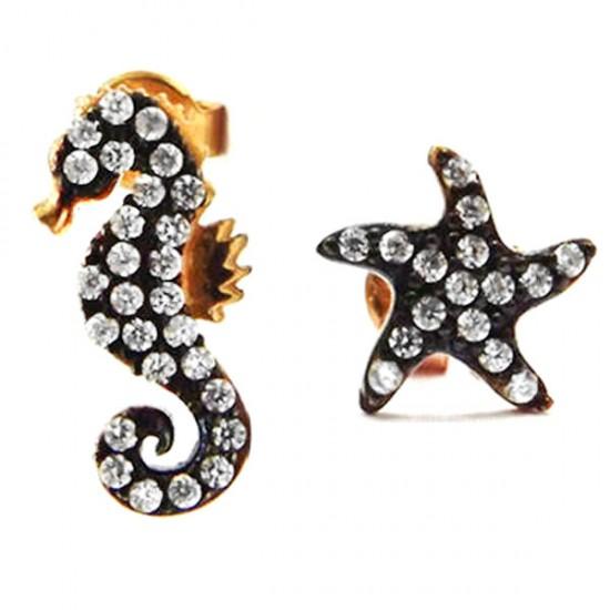 925 Ayar Gümüş Deniz Atı ve Deniz Yıldızı Küpe