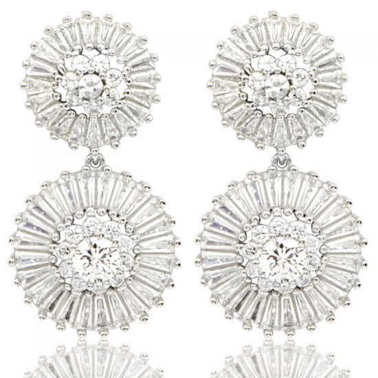 Baget Taşlı Gümüş Kadın Küpe 925 Ayar Gümüş