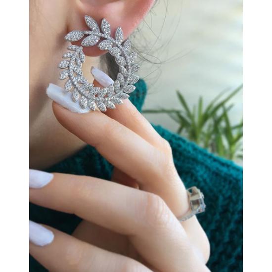 İtalyan Tasarım Yaprak Model Gümüş Küpe 925 Ayar