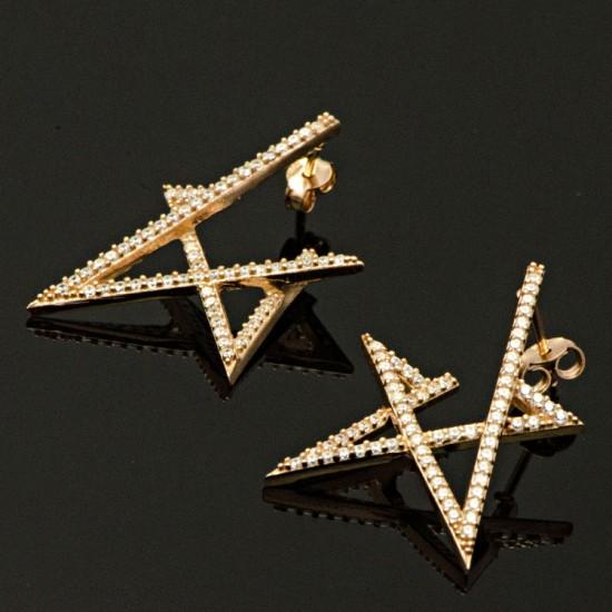 Zirkon Taşlı Yıldız Figür Rose Gümüş Küpe 925 Ayar
