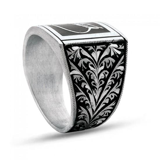 925 Ayar Gümüş Erzurum Kalem İşlemeli K.ATATÜRK İmzası Erkek Yüzük Özel Tasarım