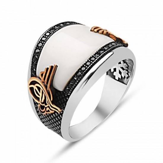 Osmanlı Tuğralı 925 Ayar Gümüş Yüzük Doğal Taşlı Özel Tasarım