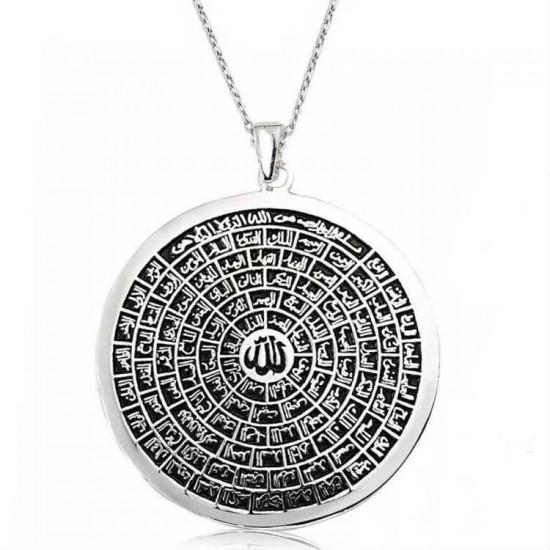 925 Ayar Gümüş Kolye Esmaül Hüsna ALLAHın 99 İsmi