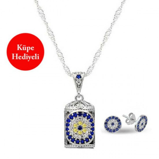 Nazar Cevşen-i Kebir Kolye Zincir Nazar Küpe Hediyeli 925 Ayar Gümüş Kampanya