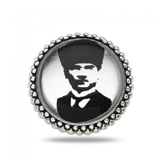 M. Kemal Atatürk Siluet 925 Ayar Gümüş Rozet