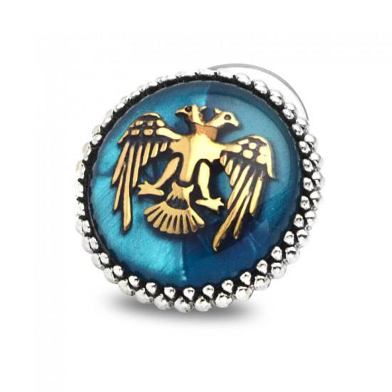 Mavi Mineli Çift Başlı Kartal Gümüş Rozet 925 Ayar